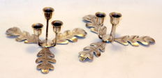 Silver pair of small three slot leaf decorated candlesticks - Joseph Gloster Ltd - Birmingham - 1957