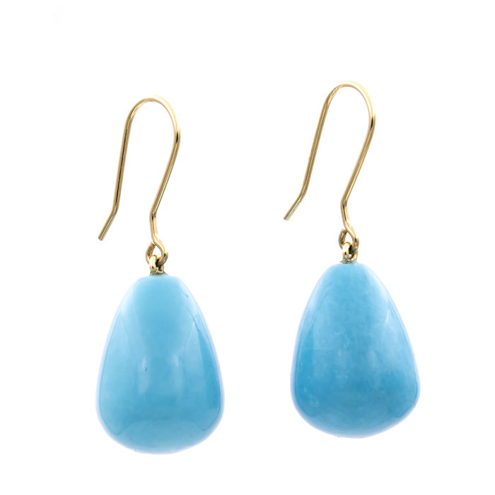 18 kt yellow gold – Earrings – Pear-shaped turquoises – Earring height 32.35 mm