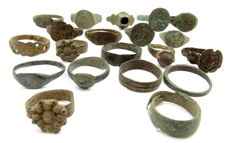Fine selection of 20 intact and decorated Ancient Roman and Medieval bronze wearable rings  (20)