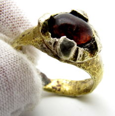 Saxon Era Gold-Gilded Silver Ring with Dark Red Stone - 17mm