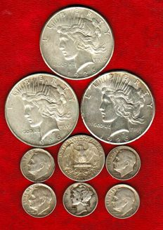 "Estados Unidos - Colección de 3 monedas de 1 dolar ""Peace"" (3), 1/4 dolar ""Washington"" y 5 dimes ""Mercury and Roosevelt"" 1925-1964. Plata. (9)"