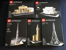 Architecture - 21011 + 21013 + 21019 + 21022 + 21031 - Brandenburg Gate - Big Ben - The Eiffel Tower - Lincoln Memorial - Burj Khalifa