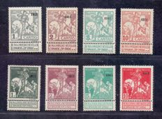 Belgium 1910/1911 - Caritas series with overprint '1911' - OBP 92/99