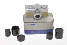 Meopta Mikroma II Beige subminature 16mm camera with 20/3.5 Mirar, very rare with this color of skin