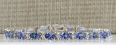 Certified 8.84 Carat Natural Tanzanite and Diamond Bracelet In 14K Solid White Gold *** FREE SHIPPING *** NO RESERVE ***