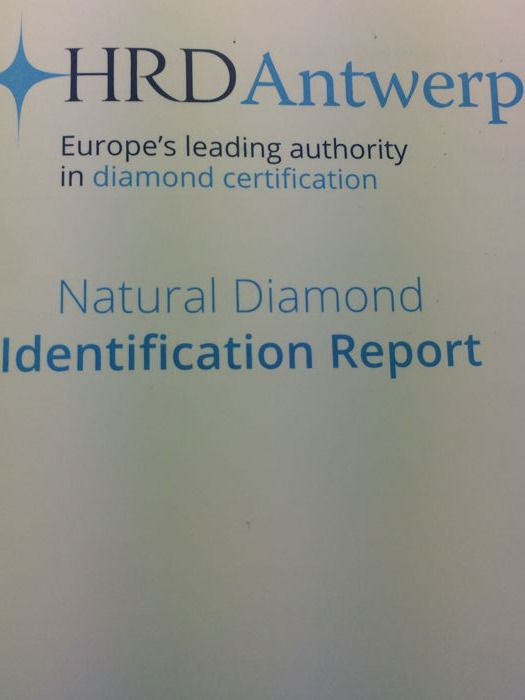 Brilliant cut diamond 0.20 ct TW K SI 1 with HRD certificate no ...