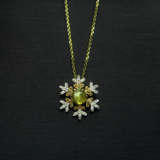 18K gold necklace with 0.52ct of cat's eye and 0.054ct of yellow diamond