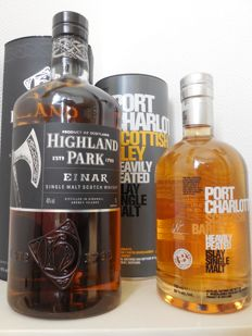 2 bottles - Port Charlotte Scottish Barley heavily peated / Highland Park Einar 1 litre