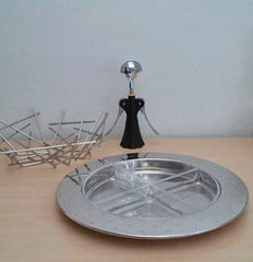 """Michael Graves, Fratelli Campana and Alessandro Mendini for Alessi - lot of three designer items (hors d'oeuvre set """"MG 27"""", basketball dish """"Blow up"""", corkscrew """"Anna G"""")"""