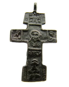 Late Medieval Cross Pendant with Saints depicted  - 43x24 mm