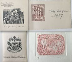 Graphic art book; Kerhove de Denterghem, de Andrea, SV – lot of 4 bookplates – 1955-1976