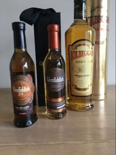 3 bottles - Glenfiddich 21 Grand Reserva & Glenfiddich Explorer's Edition & Kilbeggan Irish Whisky