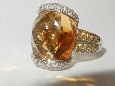 White gold ring with citrines and diamonds.  10.75ct