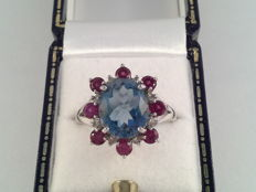 Large vintage ring white gold with blue topaz, ruby and diamond 6 ct, ring size 18/57