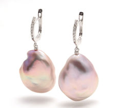 Gold and 0.18Ct Diamond Earrings featuring 17mm Lustrous Baroque Pearls