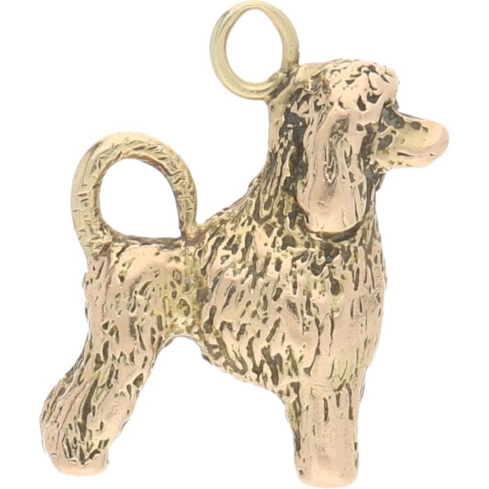 14 kt - Solid yellow gold pendant in the shape of a poodle - Length x Width 19 mm x 15 mm