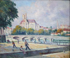 Maximilien Luce (1858 - 1941) - Quais et Cathedrale D'Auxerre - in the catalogue raissonnee - great provenance