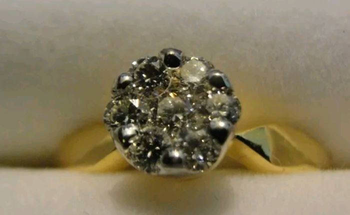 18 K Gold 0.42 Ct Diamond Solitaire Engagement Ring VS F-G Color - size 16.5 to 16.9 mm