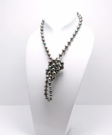 Long Tahitian Drop Pearl Necklace 8x10.5mm with Ordinex Certificate