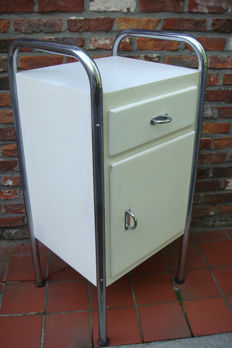 Producer unknown - chromed tubular frame vintage nightstand with towel rack.