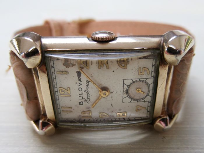 "Bulova ""Excellency"" Beautiful Mens watch Cal 7AA 21j Art Déco style 1950"
