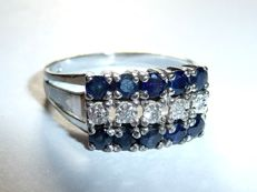 A row ring - ring made of 333 / 8 KT white gold - 10 natural sapphires + 5 diamonds *no reserve price*