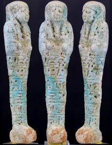 Blue faience Shabti for General Padybastet son of Padyhormedenit - ca. 14,0 cm - c. 5,51 inches