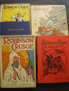Lot with 5 editions of Daniel Defoe's Robinson Crusoë - 1889/1934