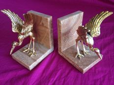 Vintage bookends of birds in bronze on marble