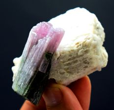 Terminated & Undamaged Natural Purple Tourmaline Crystal with Microline Feldspar  - 56 x 32 x 32mm - 50 gm