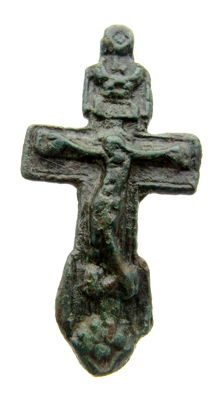Medieval Bronze Cross with Crucified Jesus - 42x22 mm