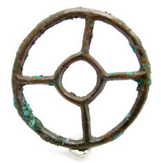 "Ancient Roman bronze open work pendant shaped as wheel - ""the Wheel of Fortune"" - 50 mm"