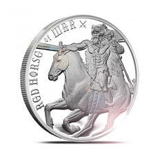 USA - 1 oz 999 Silber / Silbermünze Four Horsemen of the Apocalypse - Red Horse of War - Reiter der Apocalypse - Zweite Ausgabe