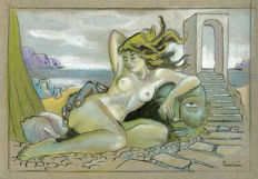 Original work; Celedonio Perellón - Woman and stone head in a surreal space- ca 1980