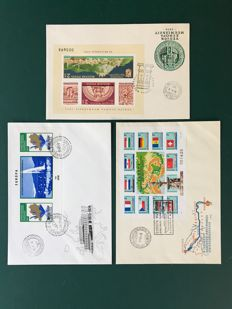 Hungary 1974/1977 – 3 imperforate blocks on FDC – Michel 103B/128B