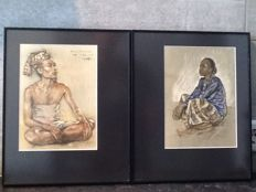 2 Lithographs, Balinese man and Javanese woman – W.G. Hofker – Indonesia – mid 20th century