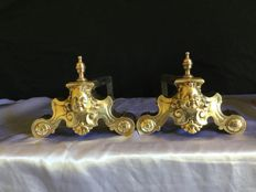 Pair of Andirons with Bronze Decor, Steel Bars, France, End of 19th century