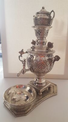 Antique silver samofar/samovar, Persia, late 19th/early 20th century