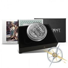 USA - 1 oz Merlin Wizard - Celtic Lore series - 999 silver - proof - antique silver finish - with box & certificate - Edition of only 2,000 pieces worldwide