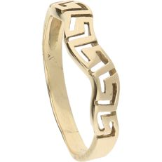 14 kt - Yellow gold ring with wavy, Greek pattern - Ring size: 19.25 mm