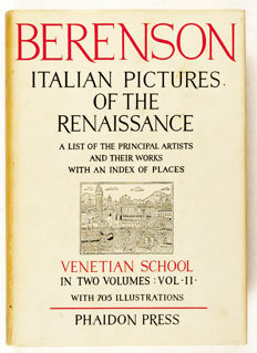 Bernard Berenson - Italian pictures of the renaissance, A list of the principal artists and their works with an index of places. Venetian School in 2 Volumes -  Phaidon, London - 1957 -