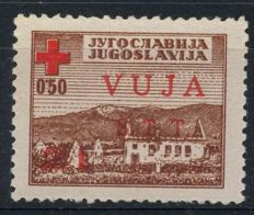 Triest – zone B – 1948 – surcharge stamp from Yugoslavia with red instead of black overprint, Sassone 4a