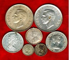 South Africa and Canada – set of 7x coins, 1912–1965 – silver. (7)