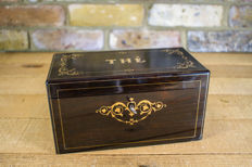 A dark rosewood and brass inlaid tea caddy - France - circa 1870
