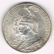 German Empire, Prussia - 5 Mark 1901 A 200 Years Kingdom of Prussia -silver