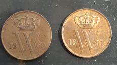 Netherlands - 1 cent of 1860 and 1861 Willem III - copper