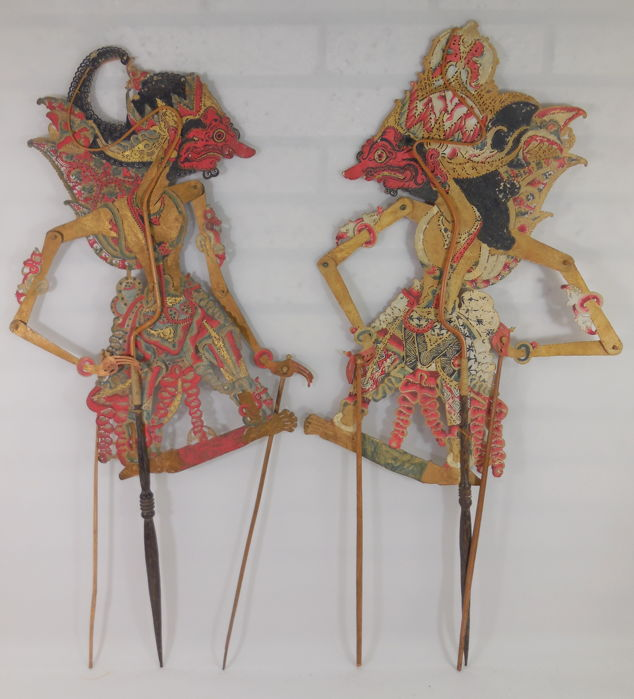 Two wayang kulit puppets – Java – Indonesia – first half of the twentieth century
