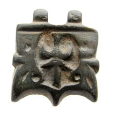 Viking bronze decorated plate pendant with floral decoration - 25mm