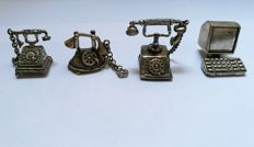 Lot of four silver Miniatures, Italy, 20th century