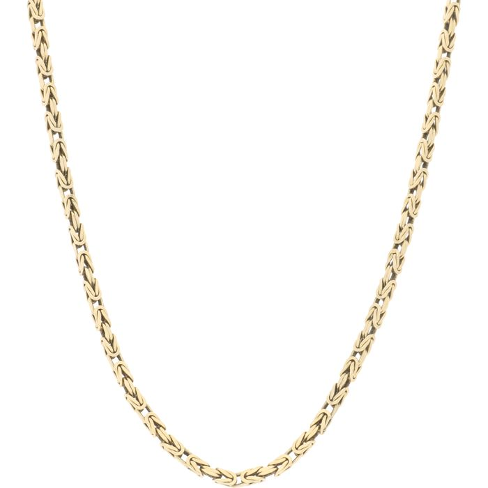 14 kt – Solid yellow gold Byzantine link necklace – Length: 62.3 cm